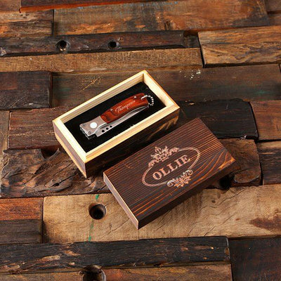 Personalized Wooden Box With Pocket Knife