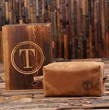 Wooden Box With Leather Travel Kit