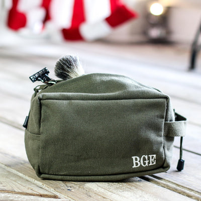 Olive Green Canvas Engraved Toiletry Kit