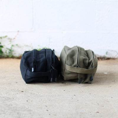 Olive Green and Black Canvas Engraved Toiletry Kit