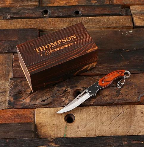 Engraved Wooden Box With Wooden Handled Knife