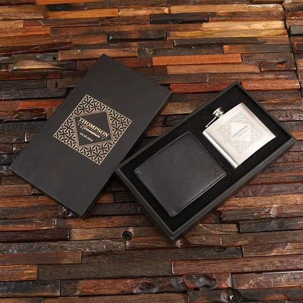 Personalized Black Box, Wallet and Stainless Steel Flask