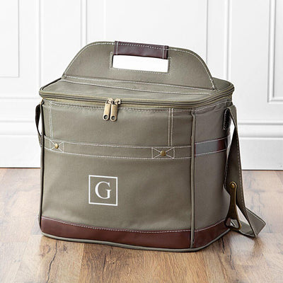 Olive Green Engraved Canvas Cooler