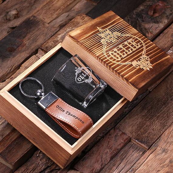 Wooden Box With Key Chain and Shot Glass