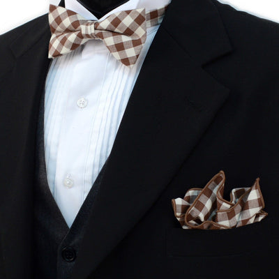 Brown Plaid Bow & Hanky