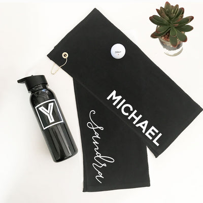 Engraved Sports Bottle And Gold Towel
