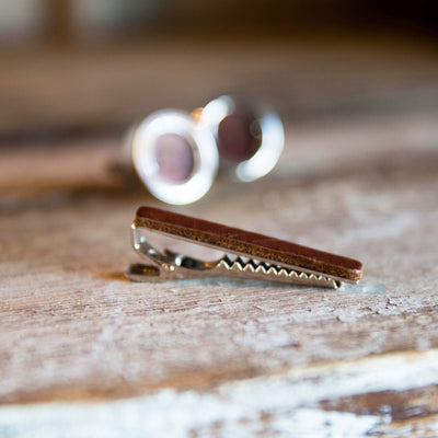 Engraved Leather Tie Bar and Cuff Links