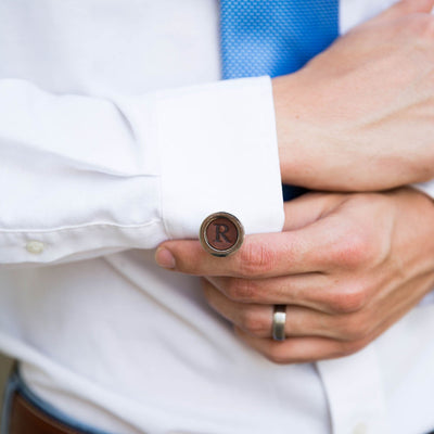 Engraved Leather Cuff Links