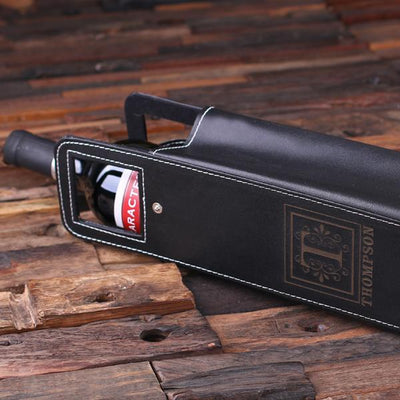 Personalized Leather Wine Bottle Tote