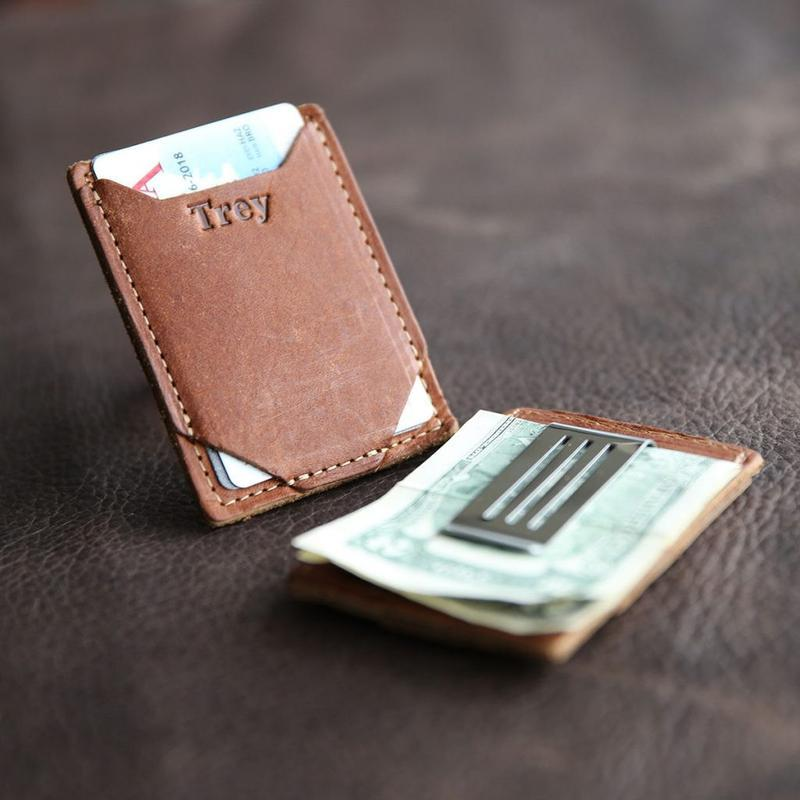 Brown Leather Card Holder and Money Clip