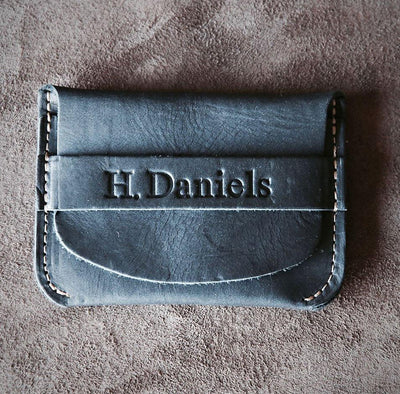 Black Engraved Leather Wallet