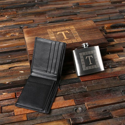 Black Leather Wallet and Stainless Steel Flask