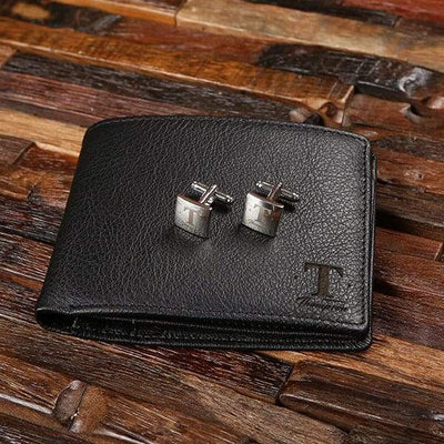 Engraved Black Leather Wallet, Cuff Links