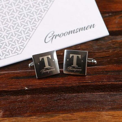 Engraved Silver Square Cuff Links