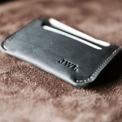 Black Leather Minimalist Wallets
