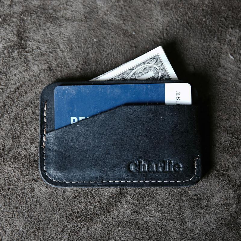 Engraved Black Leather Minimalist Wallet