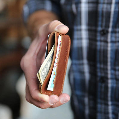 Engraved Brown Leather Minimalist Wallet