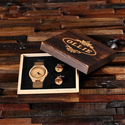 Engraved Wooden Box with Wooden Watch and Cuff Links