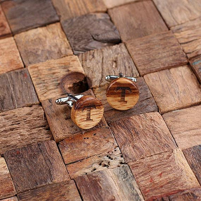 Engraved Wooden Cufflinks