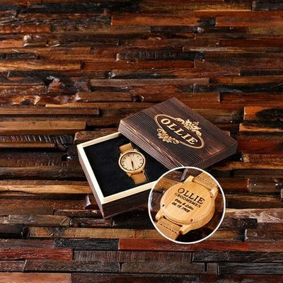 Light Wood Engraved Groomsmen Watch and Box