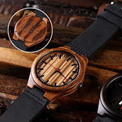 Dark and Light Wood Engraved Groomsmen Watch and Box