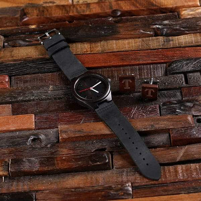 Engraved Dark Wood Watch