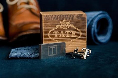 Wooden Box Set Including Stainless Steel Cufflinks and Money Clip