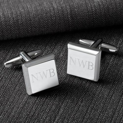 Stainless Steel Square Engraved Cufflinks