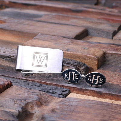 Stainless Steel Cufflinks, Tie Bar and Money Clip