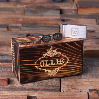 Wooden Box Set With Stainless Steel Cufflinks, Tie Bar and Money Clip