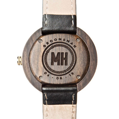 Wooden Wrist Watch With Leather Strap