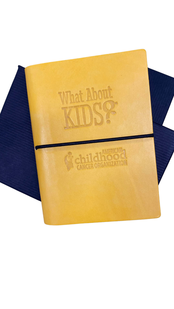 'What About Kids?' Gold Italian Leather Pocket Journal