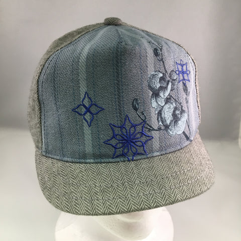 Kids Gray Cotton Herringbone Baseball Cap w/Blue Decal & Embroidery Detail