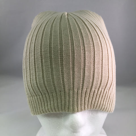 Taupe Ribbed Cotton Beanie Cap