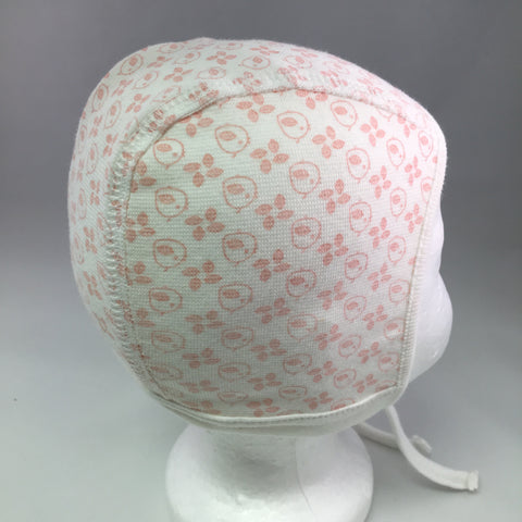 Infant White Cotton Baby Bonnet w/Pink Bird & Leaf Print