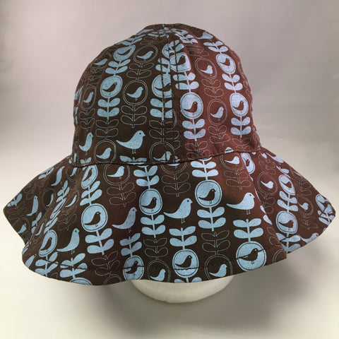 Kids Brown Cotton Wide Brim Bucket Hat w/Blue Bird & Leaf Print