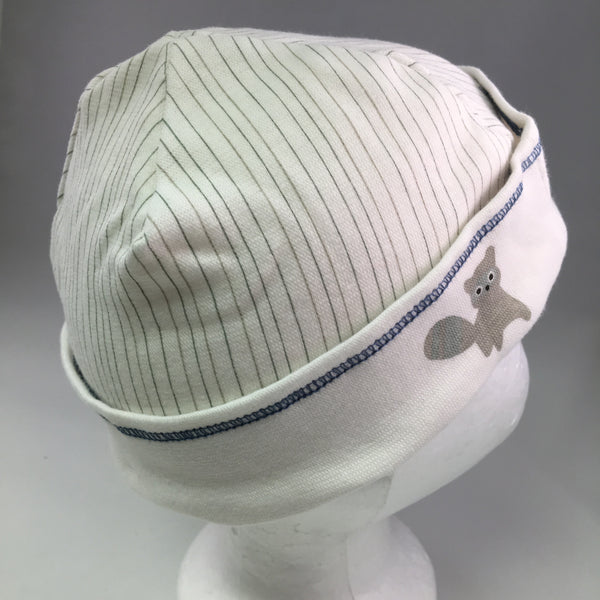 Infant White Cotton Cap w/Blue Stripes & Raccoon Detail