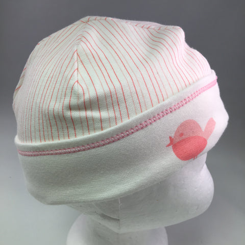 Infant White Cotton Cap w/Pink Stripes & Bird Detail