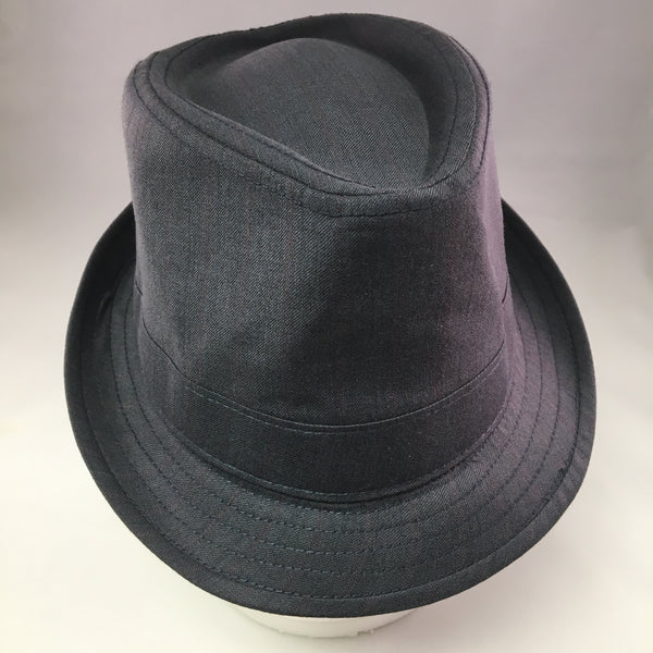 Gray Gabardine Trilby Hat w/Red Pinstripe Detail