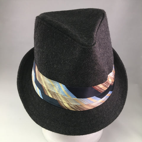 Dark Gray Wool Trilby Hat w/Blue & Brown Tie Detail