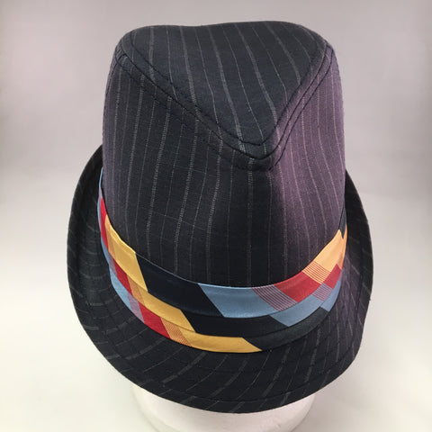 Navy Gabardine Trilby Hat w/Pinstripe & Red/Yellow Tie Detail