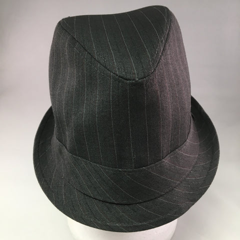 Gray Gabardine Trilby Hat w/Red, White & Navy Pinstripe Detail