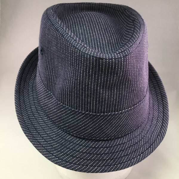 Blue Cotton Twill Trilby Hat w/White Pinstripe Detail