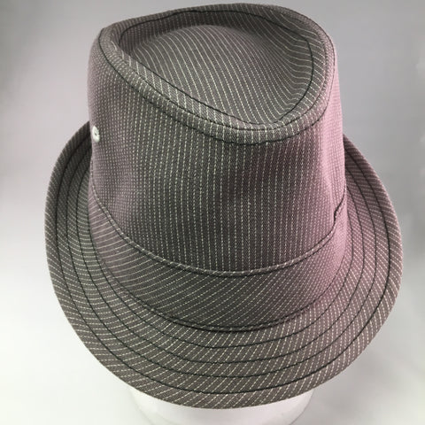 Putty Cotton Twill Trilby Hat w/White Pinstripe Detail