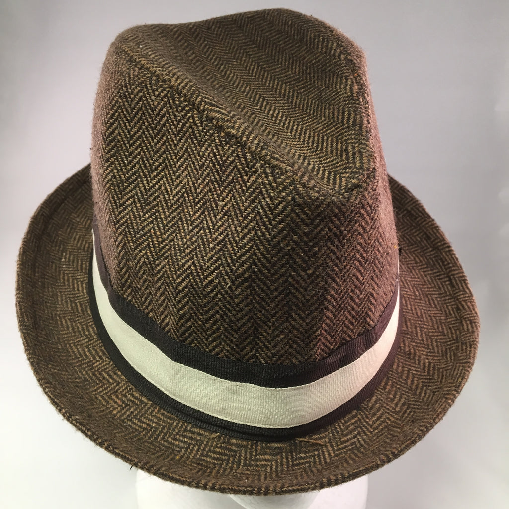 Brown Wool Tweed Trilby Hat w/Cream & Brown Ribbon Detail