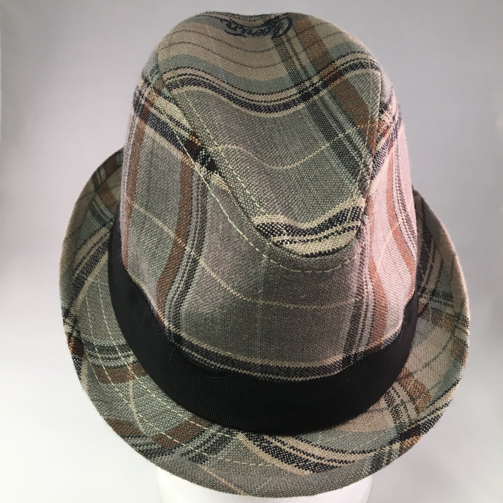 Putty Plaid Wool Trilby Hat w/Black Ribbon Detail