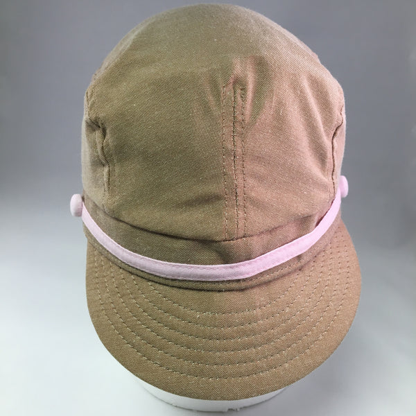 Kids Tan Cotton Twill Conductor's Cap w/Pink Ribbon & Button Detail