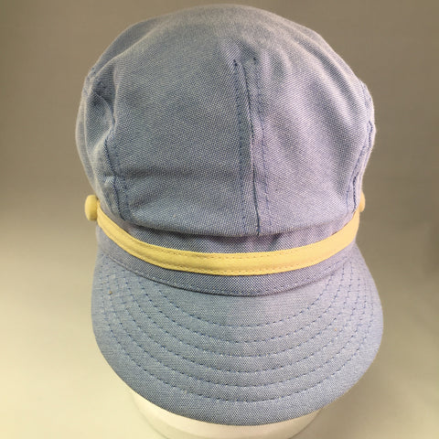 Kids Blue Cotton Twill Conductor's Cap w/Yellow Ribbon & Button Detail