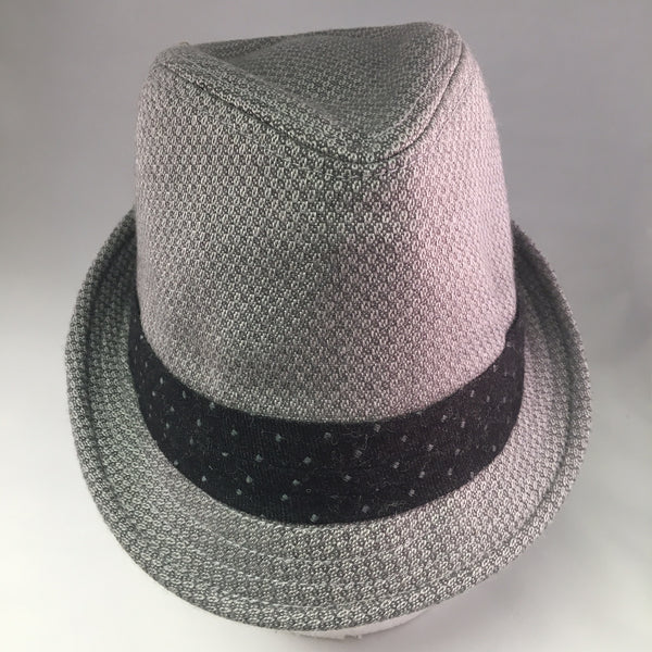 Gray Patterned Wool Trilby Hat w/Dark Gray Ribbon Detail