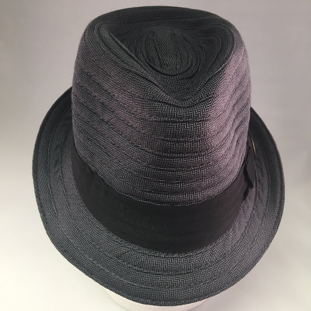 Gray Herringbone Trilby Hat w/Seam & Black Ribbon Detail